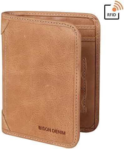 BISON DENIM RFID Blocking Bifold Wallet Slim Thin Mens Leather Wallets Card Id Holders Womens