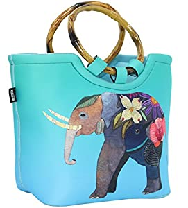 Lunch Bag Tote Bag by QOGiR - Large Reusable Insulated Neoprene lunch Bag with Inside Pocket - Perfect for Women Girls (Colorful Elephant)