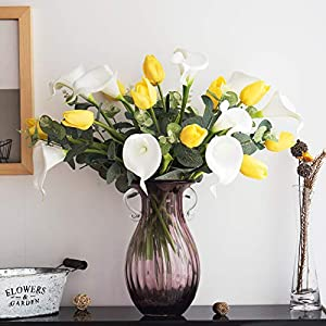Silk Flower Arrangements YILIYAJIA Calla Lily Artificial Tulips Bouquets Bridal Real Touch Flowers with Silver Dollar Eucalyptus for Wedding Home Table Decoration (Yellow and White)