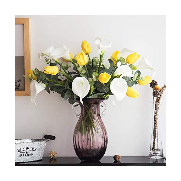 YILIYAJIA Calla Lily Artificial Tulips Bouquets Bridal Real Touch Flowers with Silver Dollar Eucalyptus for Wedding Home Table Decoration (Yellow and White)