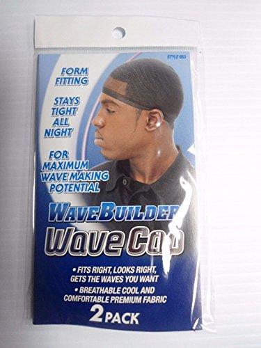 WaveBuilder Black Wave Cap, 2 Count