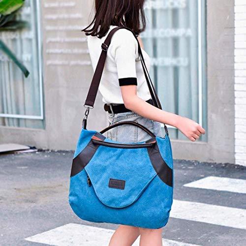 Bandolera Azul Vintage Bolso diseño para Color Mujer Mujer Cremallera con Azul azul AiBarle 5P0pqp