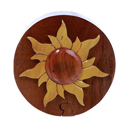 - Handcrafted Wooden Round Shape Sun & Sunshine Secret Jewelry Puzzle Box - Sun