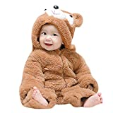 Newborn Baby Boys Girls Cute Bear Ears Winter Warm Thick Fleece Hooded Romper Jumpsuit (6-9 Months, Khaki)