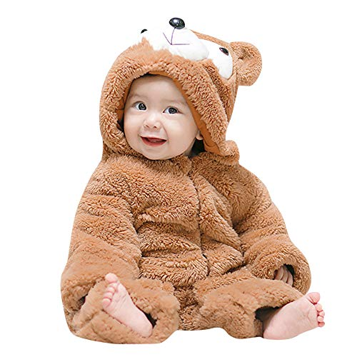 (Newborn Baby Boys Girls Cute Bear Ears Winter Warm Thick Fleece Hooded Romper Jumpsuit (9-12 Months,)