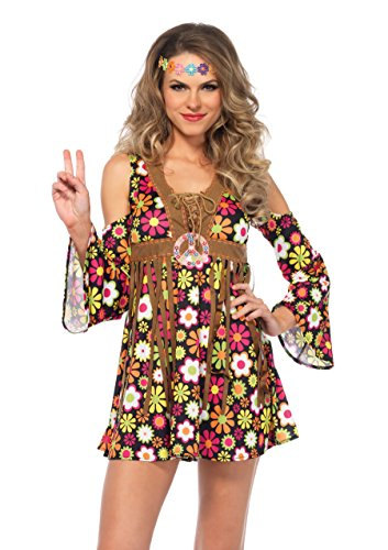 Leg Avenue Women's Plus Size Groovy Hippie 60s Costume, Multi, 3X-4X (Cheap Halloween Costumes For Women Plus Size)