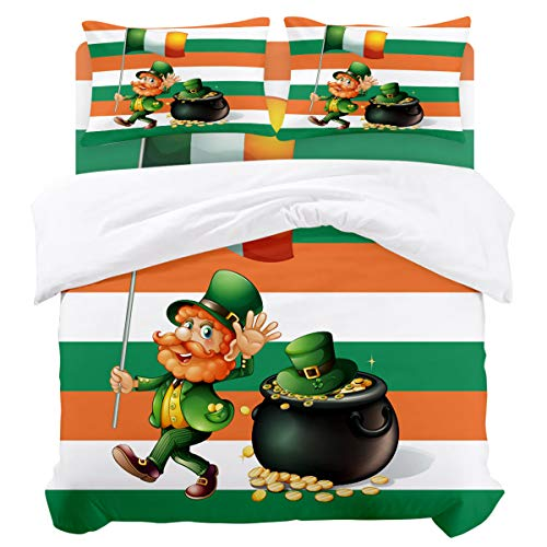 (Twin Duvet Cover Sets 4 Piece Bedding Set with 2 Decorative Pillow Shams, Flat Sheet for Adult/Kids/Teens/Children, St. Patrick's Day Leprechaun Hat Gold with Irish Flag Background)