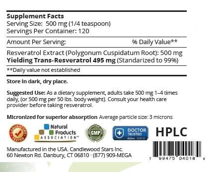 Mega Resveratrol, Pharmaceutical Grade, 99% Pure Micronized Trans-Resveratrol POWDER, Purity certified.