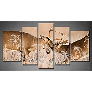 Delicieux 5 Panel Wall Art White Tailed Deer Bucks Sparring Painting Pictures Print  On Canvas Animal The