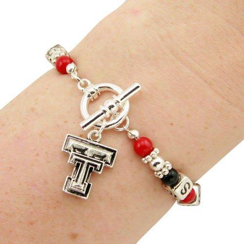 Texas Tech Red Raiders Ladies Art Nouveau-Style Beaded Toggle Bracelet