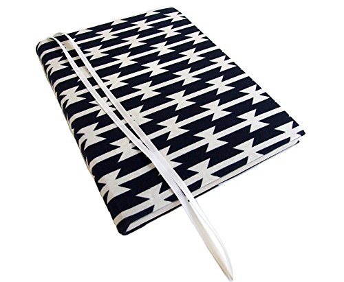 Refillable Composition Notebook Cover in Navy Blue TOMAHAWK STRIPES Stretch, Fabric Journal Cover for Composition Book 7.5 x 9.75, Composition Journal…