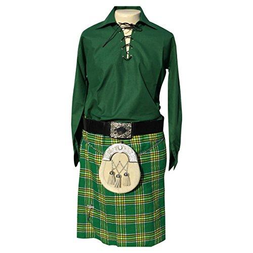 Traditional Scottish Woman Costume (7 Pcs Kilt Outfit, Jacobite Shirt, Kilt Belt, Buckle, Sporran, Belt, Kilt Pin Set)