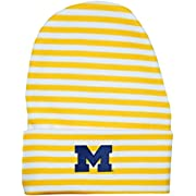 University of Michigan Wolverines Block M Logo Striped Newborn Knit Cap, Gold, One Size