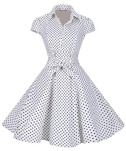 Retro BI White Women's 1950s Cap TENCON Sleeve Vintage Party Style Swing Dress wqHBRExqC
