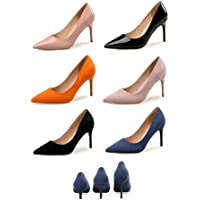 TONMOON Fashion Colorful Suede High Heels Women Pumps Pointed Toe Work Pump Stiletto Woman Shoes Weeding Shoes Office Career Multi Color