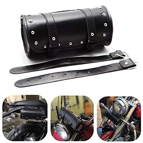 Motorcycle Handlebar Bag KEMiMOTO Tool Bag Pouch Roll Barrel Shape Universal PU Leather
