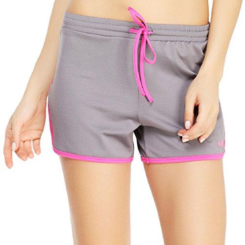 Yvette 8027–Pantalón corto de deporte para mujer–antibacteriano transpirable de running corta gris - Grey/Rose