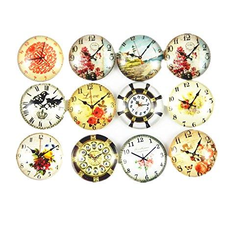 JulieWang 12pcs Round Glass Mixed Pattern Clock Watch Cameo Cabochon Flat Back Craft Charms (Charm Watch Face)