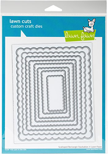 Scalloped Die Cut - Lawn Fawn Lawn Cuts Custom Craft Die - Scalloped Rectangle Stackables (LF997)