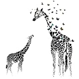 Flyfish Giraffe Butterfly Silhouette Wall Stickers DIY Waterproof Removable Wall Decal Home Room Decor, 35.4' x 23.6'