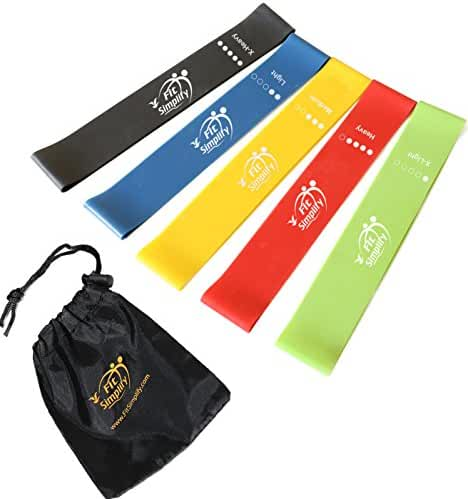 Fit Simplify Resistance Loop Exercise Bands (Set of 5) with Instruction Guide, Carry Bag, eBook and Online Workout Videos