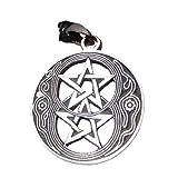 Pewter double pentagram pentacle Pendant Necklace A20