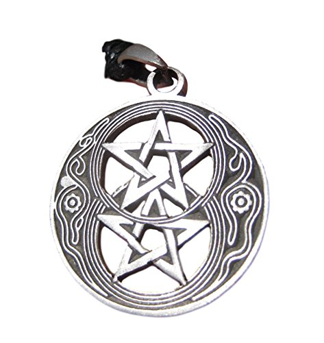 Himalayan Treasures Pewter Double Pentagram Pentacle Pendant Necklace A20