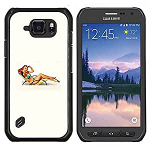 "Be-Star Único Patrón Plástico Duro Fundas Cover Cubre Hard Case Cover Para Samsung Galaxy S6 active / SM-G890 (NOT S6) ( Cátedra Mujer Chica Beach Pin encima del arte retro"" )"