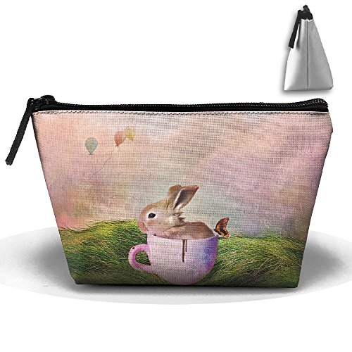 Jingclor Portable Trapezoidal Storage Pouch Happy Easter Cup Rabbit Cosmetic Bags Travel Toiletry Zipper Pencil Holders