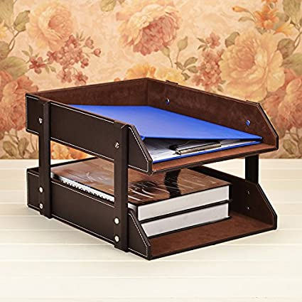 Charmant Figella Leather Office File Rack Document Filing Tray Case Wooden Desktop Desk  Organizer Book Holder (