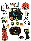 corn broom child - Halloween window clings for Kids, Halloween Classroom Decorations - 34 Total Decals