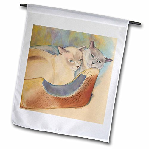 3dRose Laura J Holman Art Tonkinese Cats - Cats two cats Tonkinese cats cuddling pastel painting pet portrait cats cat bed - 18 x 27 inch Garden Flag (fl_23299_2)