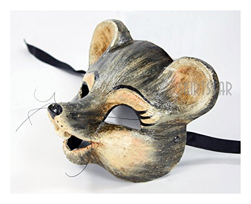 Italian Made Venetian Mouse Mask Full Face (Mouse Grey) (Home Made Mouse Costume)