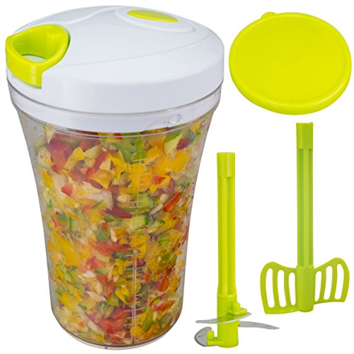 Brieftons QuickPull Food Chopper: Tall 4-Cup Hand Held Vegetable Chopper Mincer Blender to Chop Fruits, Veggies, Herbs, Onion, Garlic for Salsa, Salad, Pesto, Coleslaw, Puree, with Measuring Container (Pusher Food Baby)