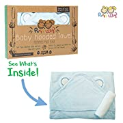 Hooded Baby Towel and Washcloth LUXURY Set | Extra Soft 600 GSM 100% Bamboo for Infant, Toddler, Newborn and Kids Great for Boys and Girls at Bath Time, Pool and Beach Superior to Organic Terry Cotton