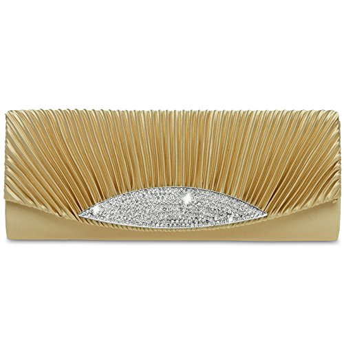 Clutch TA289 with Evening Bag colours Gold Satin many CASPAR Rhinestones Gorgeous Womens ECwqgg