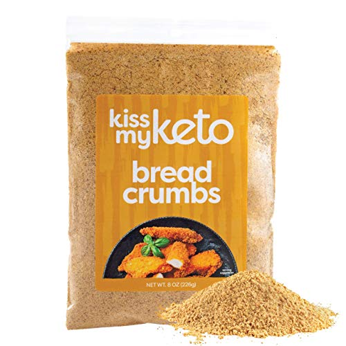 Kiss My Keto Bread Crumbs Zero Carb (0g Net) — Low Carb Keto Breadcrumbs   6g Protein in line with Serving, Sugar Free   Low Calorie, Non-GMO & Soy Free — Golden Wheat, Plain (8 Ounce, Pack of one)