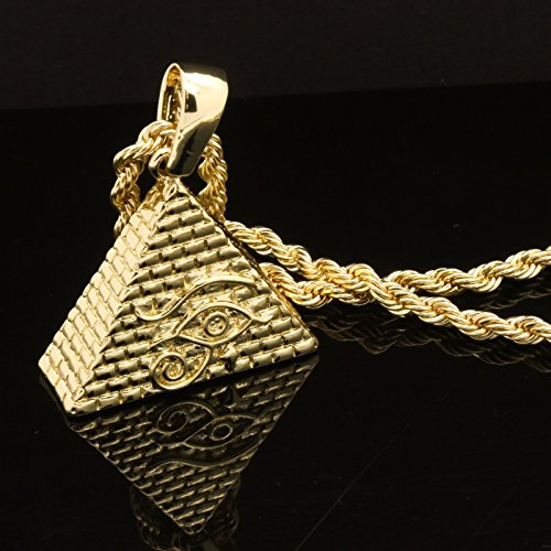 Mens 14k Yellow Gold Plated 24in Pyramid Eye 4 mm Rope Chain Necklace - Chanel Cat Eye