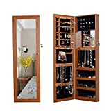 Organizedlife Oak Mirrored Jewelry Cabinet Case with Lock Wall/Door Mount
