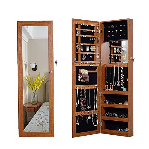 Oak Mirror Jewelry Armoire - Organizedlife Oak Mirrored Jewelry Cabinet Case with Lock Wall/Door Mount