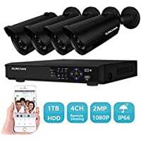 SUNCHAN 1080P (1920×1080)4CH Home Security Camera System,1080P CCTV DVR Recorder and 4pc 2MP 1080P Indoor/Outdoor weather proof Surveillance Bullet Cameras with 1TB HDD