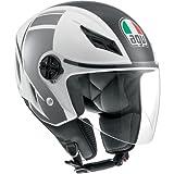 AGV Blade FX Helmet , Distinct Name: FX White/Gunmetal, Gender: Mens/Unisex, Helmet Category: Street, Helmet Type: Open-face Helmets, Primary Color: Gray, Size: Lg 042152A00068009