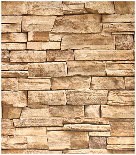 HaokHome 1619 Faux Stone Peel and Stick Wallpaper Lt.Grey/Sand Self Adhesive 17.7