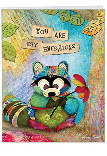 - forest Friends Raccoon' Anniversary Appreciation Card with Envelope (Big 8.5 x 11 Inch) - Sweet and Adorable Raccoon with Large Text You Are My Everything - Animal Anniversary Stationery J2952FANG