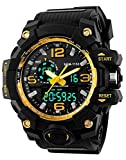 Men Military Sport Digital Analog Wrist Watch Large Dual Dial Time EL Backlight 50M Waterproof Kids Watch