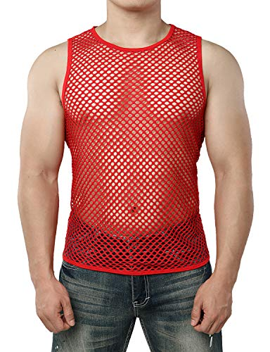 JOGAL Men's Mesh Fishnet Fitted Sleeveless Muscle Top Medium WG01 Red