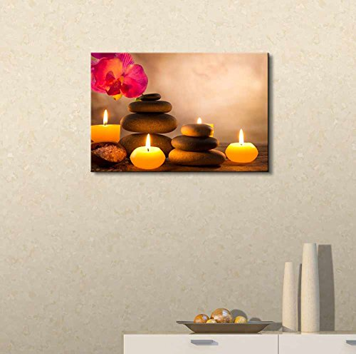 Spa Still Life with Aromatic Candles and Zen Stones Wall Decor ation