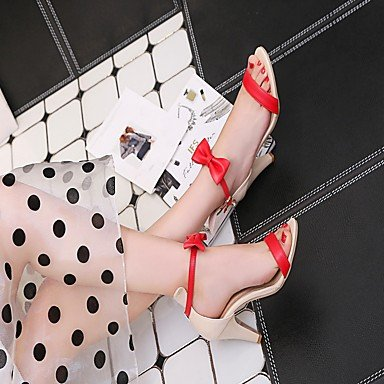 LvYuan Mujer Sandalias Semicuero PU Verano Otoño Paseo Pajarita Tacón Stiletto Blanco Negro Rojo 7'5 - 9'5 cms Black