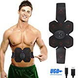 Abs Stimulator Muscle Toner Trainer EMS Abdominal Trainer Ultimate Ab Stimulator for Work Out Abs Power Fitness Abs Training Gear Flex Belt Workout Equipment Portable (red)