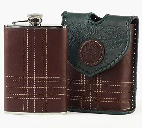 LuxusOlymp 's Exclusive High Quality Craftsmanship - hip flask in leather cover, stainless steel, 200ml SCOTTISH by LuxusOlymp